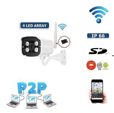 IP CAMERA P2P TELECAMERA WIRELESS WIFI IR INFRAROSSI IPCAM PER ESTERNO SD usato  Quarto