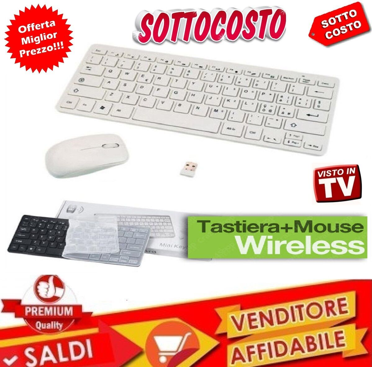 KIT COMPLETO TASTIERA SLIM MOUSE OTTICO WIRELESS SENZA FILI 2.4 GHZ MINI ITALIA
