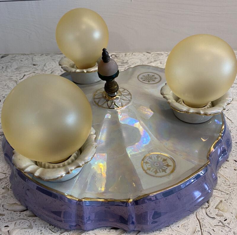 Antique German Porcelain Iridescent Light Fixture. 3 Bulb Flush Mount. Gorgeous!