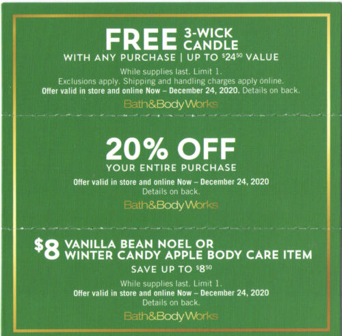 Bath & Body Works 20% off & 🅵🆁🅴🅴  3-Wick Candle with purchase, , see details