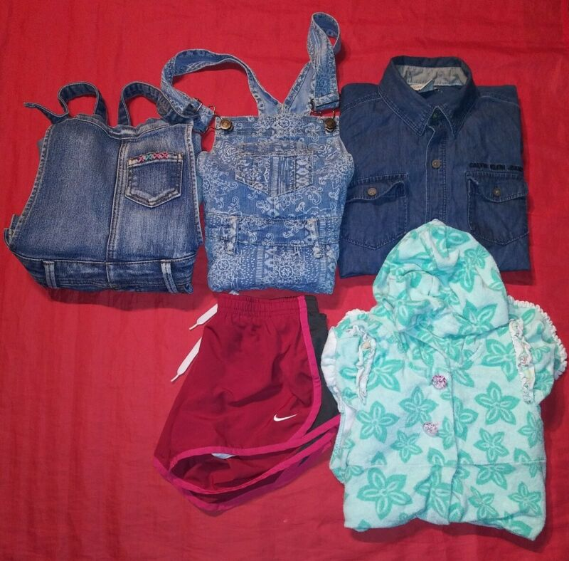 5 PC SUMMER lot Girls Overalls SHIRT SWIM Sz 7/8 NIKE CALVIN KLEIN CAT & JACK