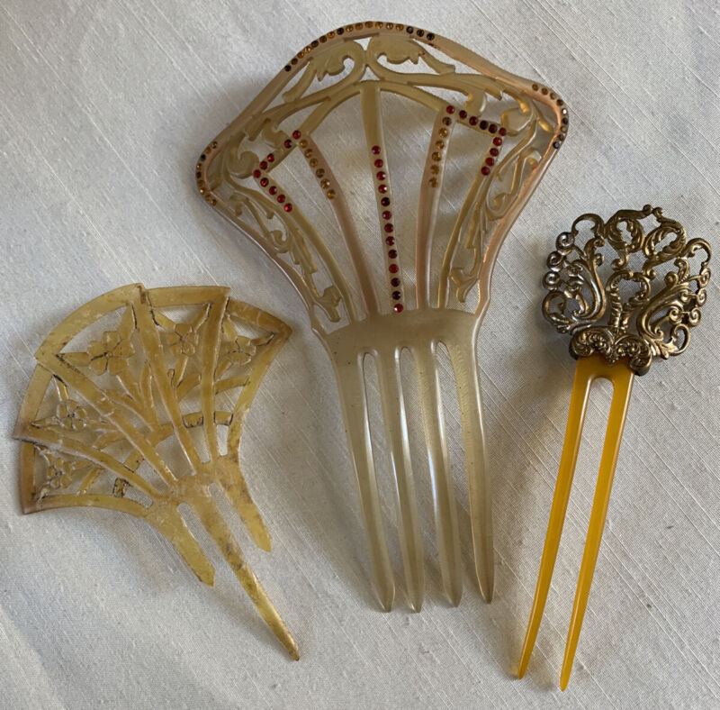 3 Antique Victorian  Deco Metal Celluloid Rhinestone Tortoise ? Hair Combs Lot