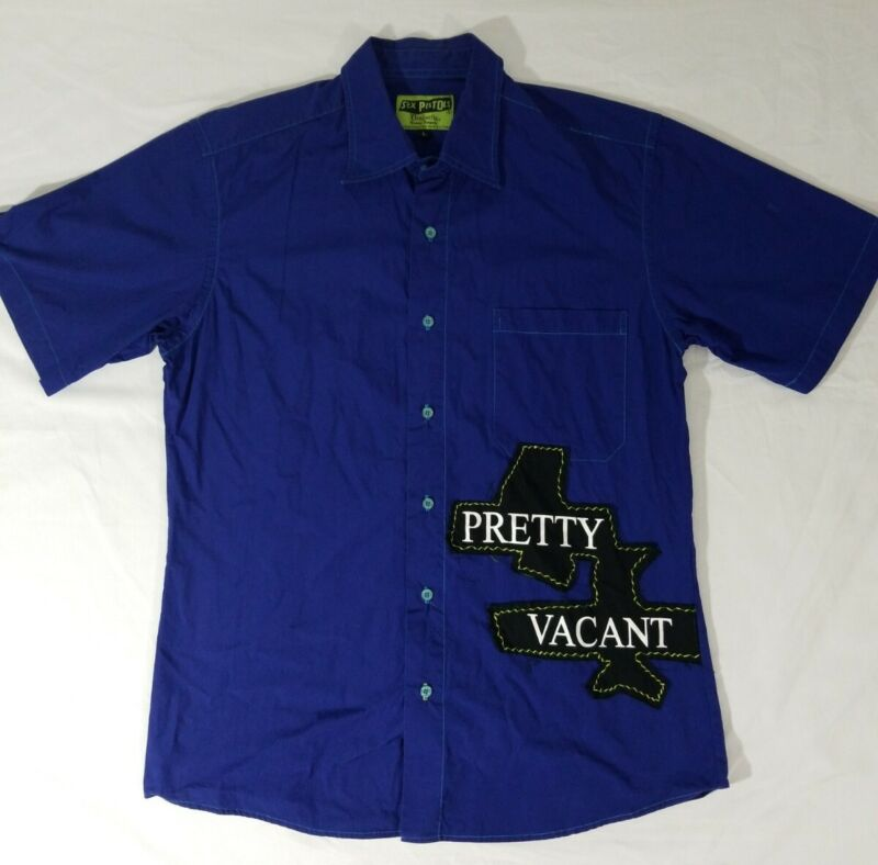 Sex Pistols Pretty Vacant Dragonfly Blue Short Sleeve Button Down Shirt Mens L