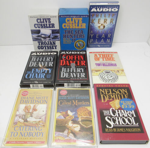 Lot Of 9 Audio Books On Cassette Nice Condition Cussler Deaver & More -Aah