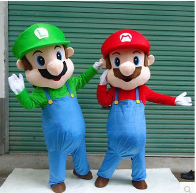 Hot Sale Cartoon Super Mario and Luigi 2 Mascot Costume Dress Suit Adult Size - Luigi Halloween Costume Uk