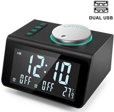 Small Alarm Clock Radio - FM Radio Dual USB Charging PortsTemperature Display