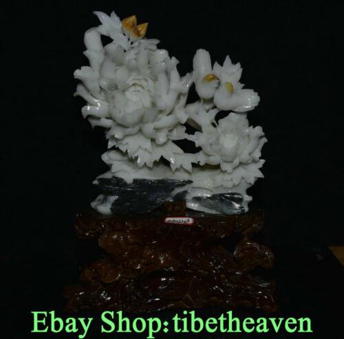 "17.2"" Old China Xiu Jade Master Carving Peony Flower Bird Tree Wood Base Statue"