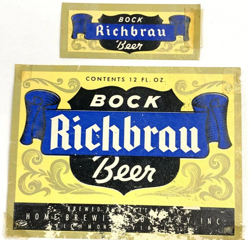 Old Richbrau Bock Beer Label Home Brewing Company Richmond Virginia & Neckband