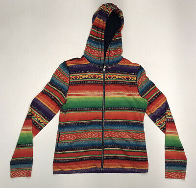 Polo Ralph Lauren Jeans Aztec Rainbow Hoodie Full Zip Sweatshirt Women's Small