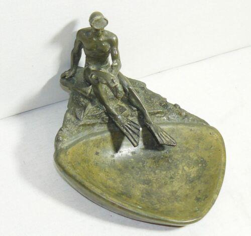 Soviet RARE! Original Russian  Bronze Figurine Diver Bronze Brass Ashtray USSR