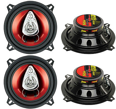 """4) New BOSS CH5530 5.25"""" 3-Way 450W Car Audio Coaxial Speakers Stereo Red"""