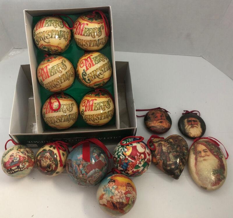 Vintage lot of 15 Christmas Decoupage Paper Mache Ornaments Round Balls & More