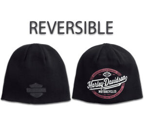 56653916aea Harley-Davidson Mens Reversible Circle Graphic Knit Beanie Hat - 97803-18VM