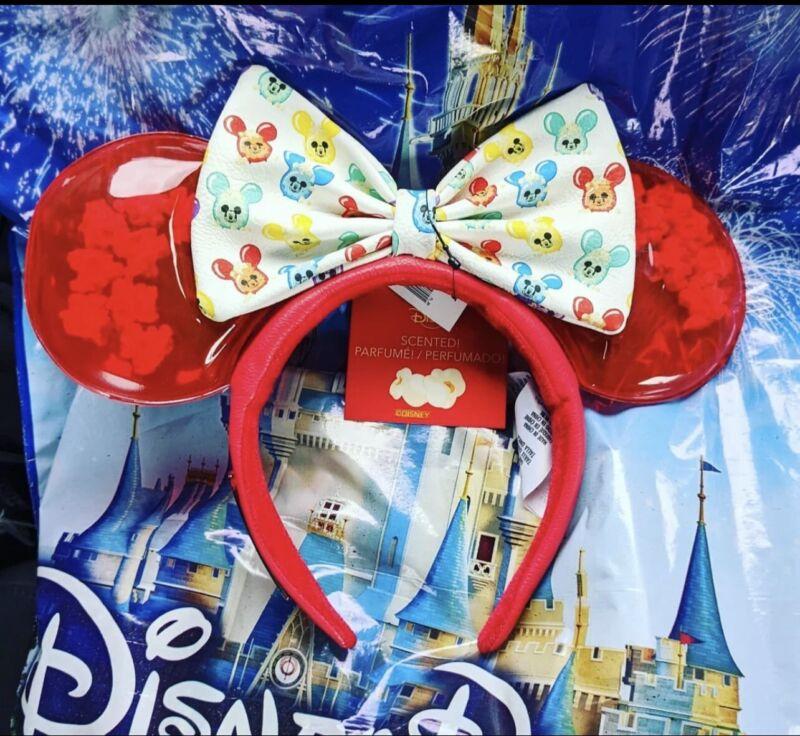 2021 Disney Parks Scented Popcorn Balloon Loungefly Minnie Ears Headband NWT