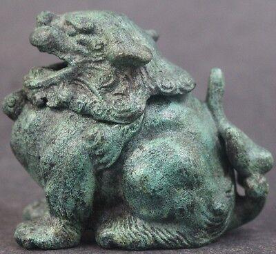 Vintage Chinese Export Green Verdigris Bronze Foo Dog Hinged Incense Burner