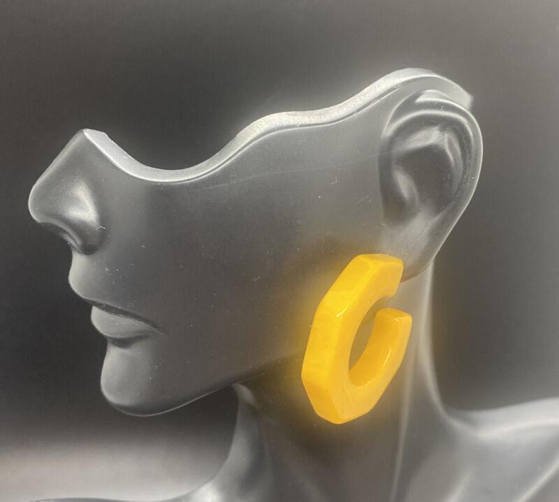 Vintage Bakelite Hoop Pierced Earrings Yellow