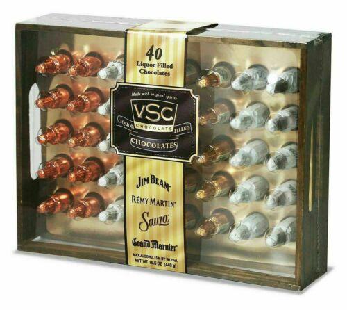 VSC Liquor Filled Chocolates Gift Wooden Box 40 CT 15.5 OZ