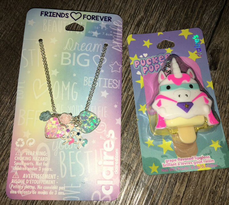 Claire's Unicorn Best Friend Heart Rose Necklace Jewelry Lipgloss Backpack Clip