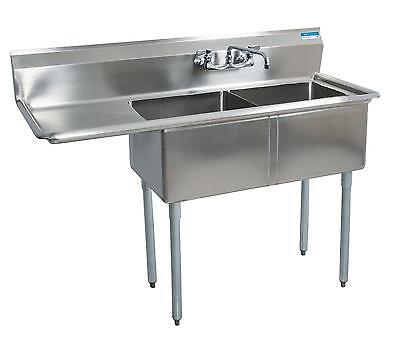 Bk Resources 224x24x14d Compartment Sink - Left Drainboard Stainless