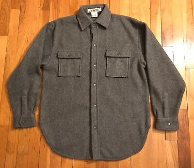 Le Tigre Men's Snap Button-Up Thick Gray Flannel Shirt, Medium image