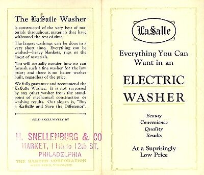 LaSalle Electric Washer Vintage Ad Pamphlet Barton Corp. West Bend Wisconsin