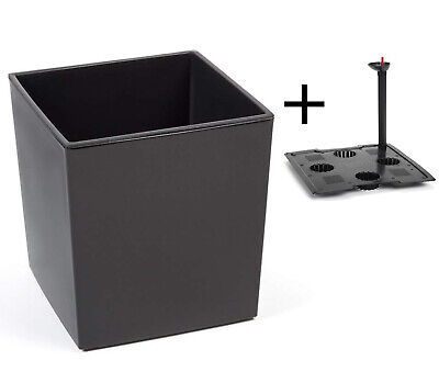 Blumenkübel mit Bewässerungssystem Hochglanz Einsatz anthrazit 40x40x41 cm XXL ()