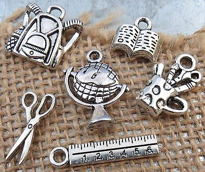 6 BACK to SCHOOL Charms Tibetan Silver Charm Collection Teacher Pencil Cup Globe
