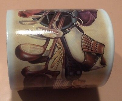 Vintage Golfer Bag, Clubs, Shoes, Etc. Pictures on Coffee Cup-Novelty Gift~Fore!