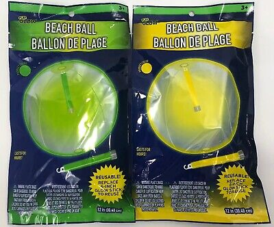 "Beach Ball 2 Pack Glow Stick To Make Your Game Glow In The Dark 12"" Pool Toy NEW - Beach Ball Games"