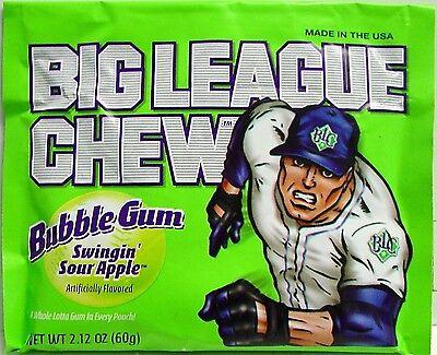 BIG LEAGUE CHEW - SWINGIN SOUR APPLE - BUBBLEGUM - Chewing Gum Candy - 6 - Big League Chew Apple Candy