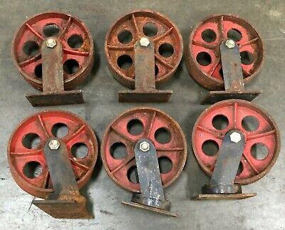 Lot Of 6 10 Cast Iron Caster Wheel 3 Swivel 3 Straight