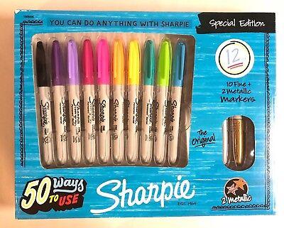 New Sharpie Gift Set 12 Permanent Markers Fine Point Metallic Arts Crafts