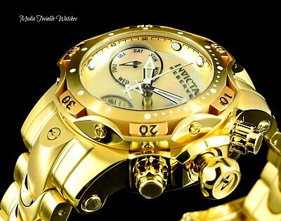 Invicta Reserve Womens 44mm Venom Gold Plated Swiss Chronograph Bracelet Watch