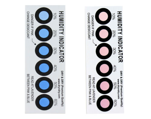 Dry & Dry Premium Humidity Indicator Cards 100 Pack - 10-60% 6 Spot(100 Cards)