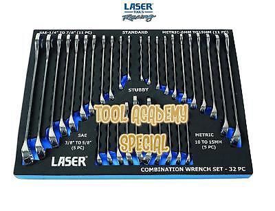 Laser Tools SALE! Chrome Vanadium Combination Spanner Set In Foam 32 Pieces