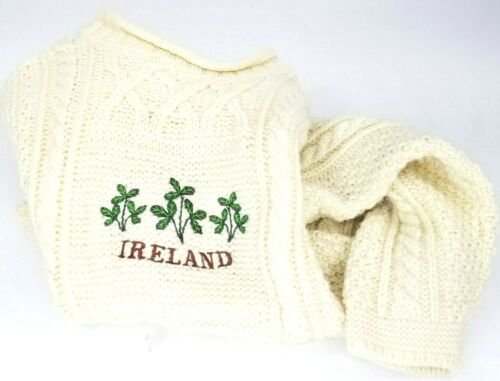 Brambles Kids Pure New Wool Sweater Ireland Age 6-7 Cream Cable Vtg Embroidered