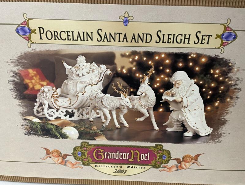 2001 Grandeur Noel Porcelain Santa & Sleigh Set w/Reindeer Collector