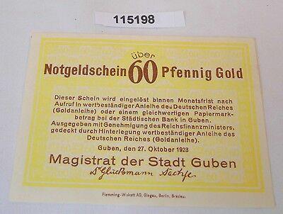 60 Goldpfennig Banknote wertbeständiges Notgeld Stadt Guben 27.10.1923 (115198)