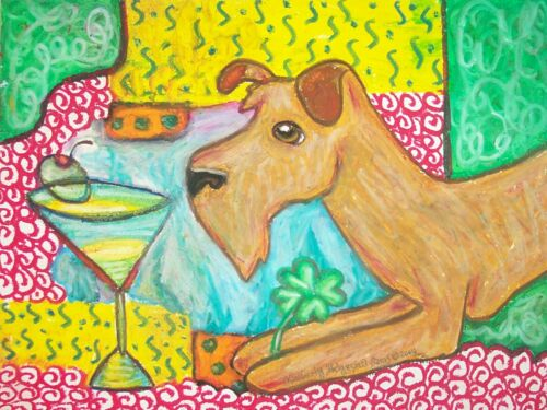 IRISH TERRIER Drinking a Martini Pop Outsider Vintage Art 8 x 10 Signed Print