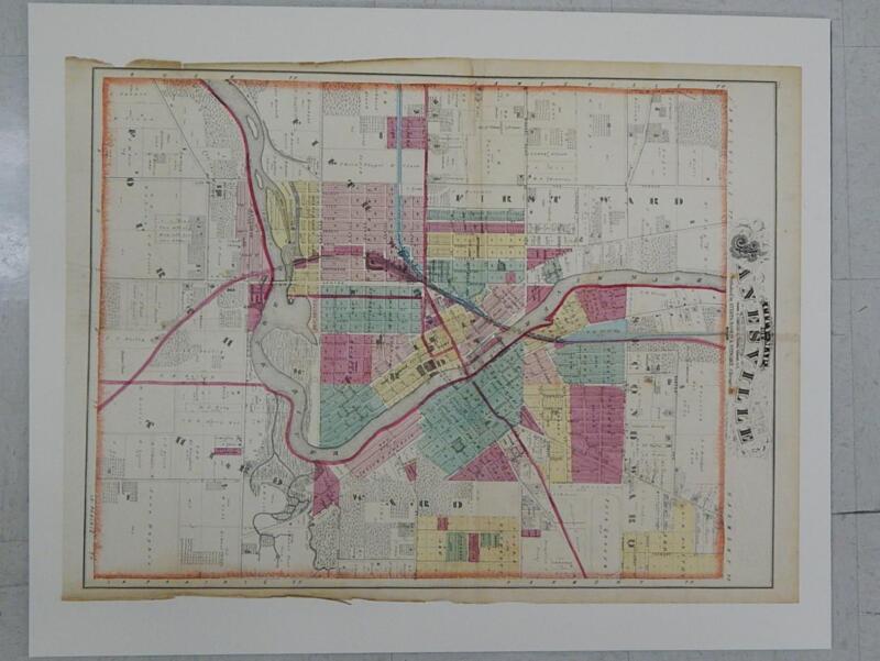 Wisconsin Antique Map 1873 Original Hand Color City of Janesville