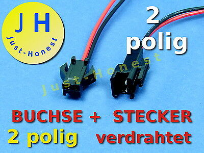 KIT BUCHSE+STECKER 2 polig / way verdrahtet  Male +Female Connector wired #A293