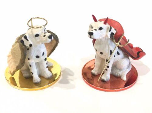 "Dalmatian Angel & Devil 2"" Figurines Ornaments Set of 2 Conversation Concepts"