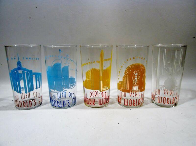1939 Art Deco NY Worlds Fair Souvenir Set 5 Highball Glass Tumblers