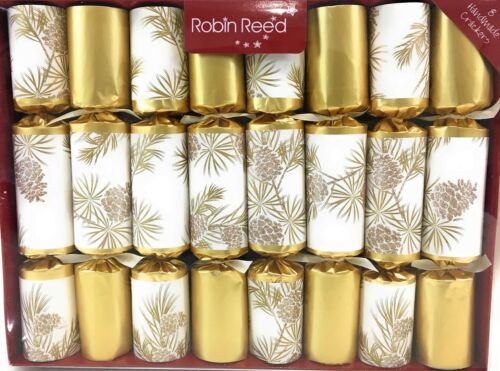 """Robin Reed English Holiday Christmas Crackers, Gold Glitter Pine Cone 8 pcs 10"""""""