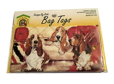 NEW Basset Hound Puppy Dogs Luggage Backpack Pet Carrier Bag Tag ID Made USA ()