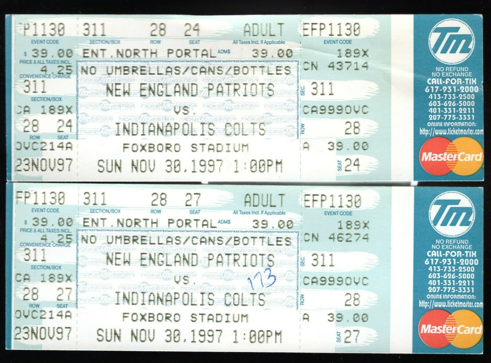 2 Nov 30, 1997 New England Patriots & Indianapolis Colts Full Tickets 20-17 Pats