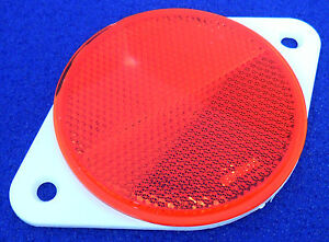 2x-70mm-Round-Red-Reflectors-with-white-Screw-Mount-Backing-Plate-E-Approved