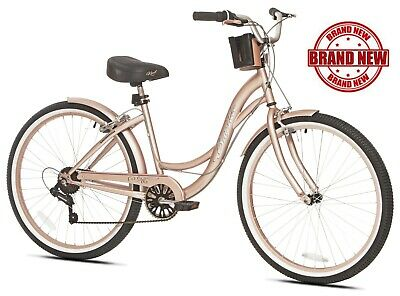 """Beach Cruiser Bike Women's 26"""" Rose Gold Hybrid Low Step-through Bicycle Shimano - Bicycle Hybrid"""