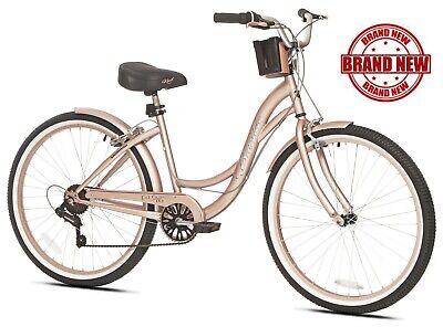"Beach Cruiser Bike Women's 26"" Rose Gold Hybrid Low Step-through Bicycle Shimano 26' Beach Cruiser Bicycle Bike"