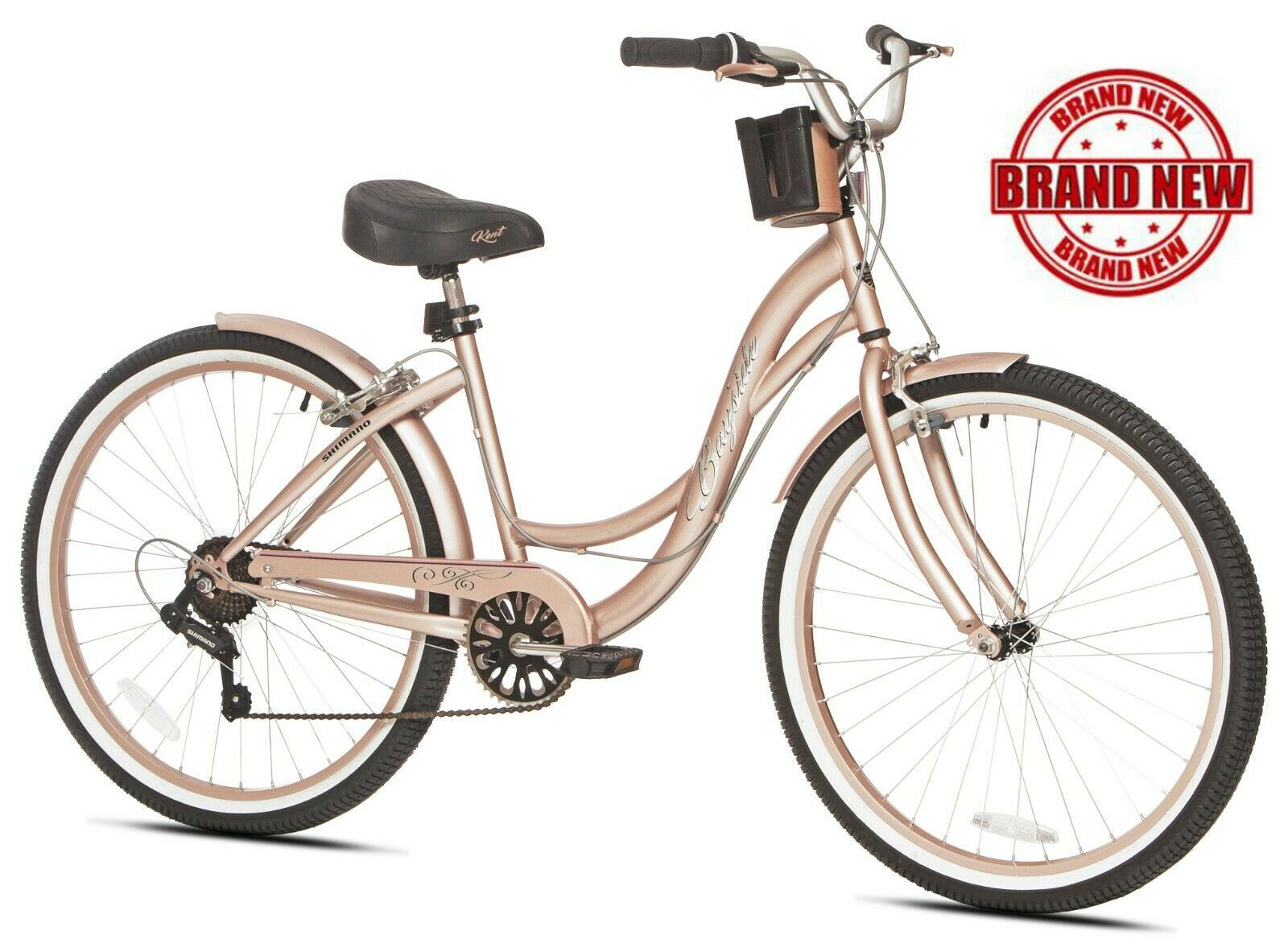 "Beach Cruiser Bike Women's 26"" Rose Gold Hybrid Low Step"